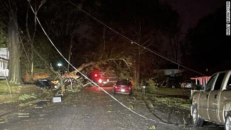 Damage caused by the Newnan, Georgia tornado.