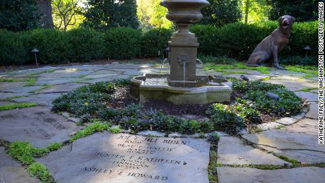 When she was second lady, Jill Biden helped create the Vice President's Family Heritage Garden, where all occupants and their families, including pets, are commemorated on the stone pavers around a fountain as seen here in 2016.