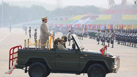 Commander-in-Chief Senior General Min Aung Hlaing reviews the troops during an army parade on Armed Forces Day in Naypyitaw, Myanmar, on March 27, 2021.
