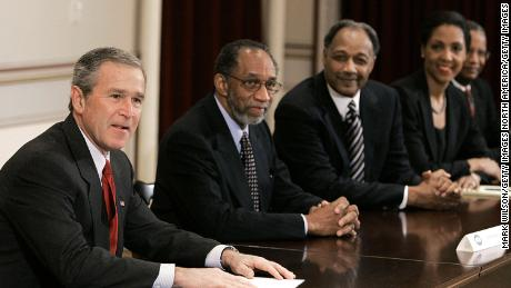 President George W. Bush speaks during a meeting with  African American leaders and pastors in 2005 at the Eisenhower Executive Office Building in Washington.
