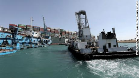 On 28 March operating a tugboat aboard the Ever Given container ship in the Suez Canal.