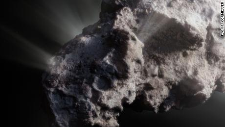 This artist's concept shows what the surface of the comet might look like.