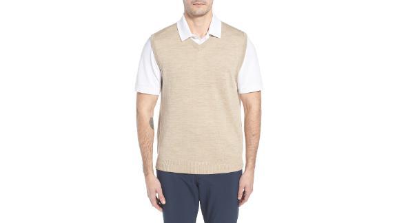 Cutter & Buck Douglas Merino Wool Blend V-Neck Sweater Vest