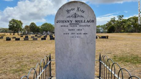 The grave of Johnny Mullagh in the Australian town of Harrow, Victoria, where he was buried after he died in 1891.