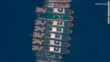 Chinese vessels seen anchored at the Whitsun Reef in the disputed South China Sea on March 23, 2021.