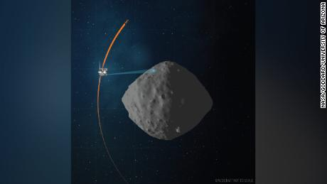 This artist's concept shows the planned flight path of NASA's OSIRIS-REx spacecraft during its final flyby of the asteroid Bennu.