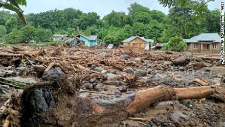 Debris left behind in the town of Adonara in East Flores