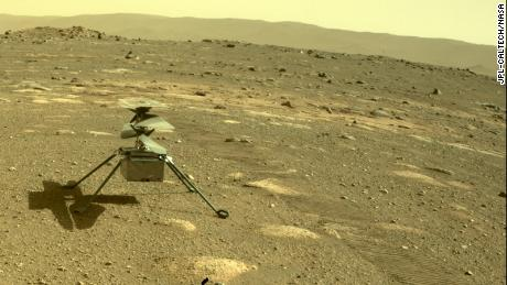 The Ingenuity helicopter can be seen on Mars as viewed by the Perseverance rover on April 4.