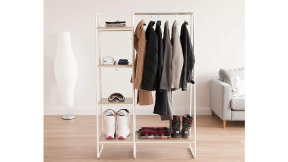 Iris USA Metal Garment Rack With Shelves