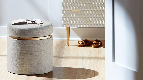 Rivet Asher Round Upholstered Storage Ottoman