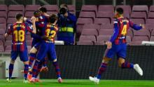 Ousmane Dembele celebrates after scoring the winning goal against Valladolid.