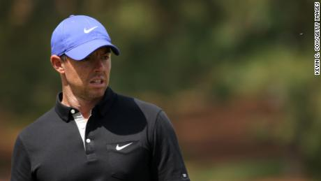 McIlroy reacts on the seventh green during the first round of the Masters.