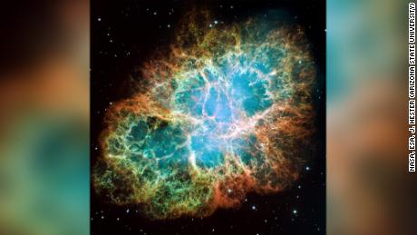 This mosaic image of the striking Crab Nebula was captured by NASA's Hubble Space Telescope.