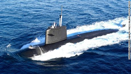 The French submarine Saphir is seen in this August 15, 2004, file photo.