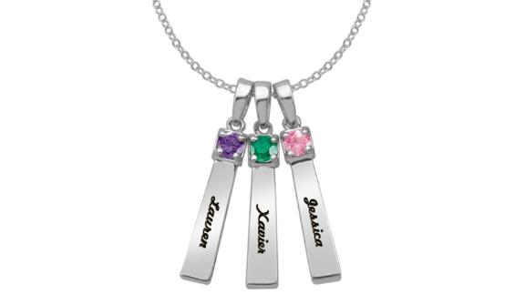 Mother's Birthstone Bar Charms Pendant