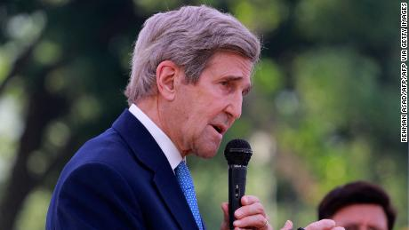 US climate envoy John Kerry speaks during a press briefing in Dhaka, Bangladesh on April 9, 2021.