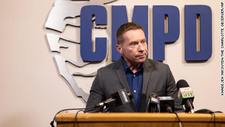Rob Tufano, Public Safety Communications Director at the Charlotte-Mecklenburg Police Department, speaks to reporters at a news conference on Thursday about the recent killings of two transgender women in the city.