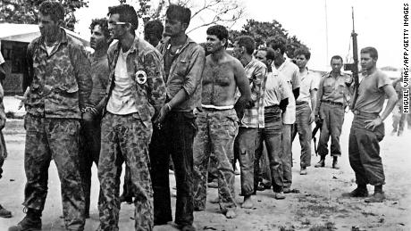 This April 1961 file photo shows a group of Cuban revolutionaries, who are members of Assault Brigade 2506 after their occupation in Pig's Bay.