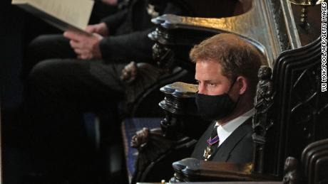 Britain's Prince Harry, Duke of Sussex attends the funeral service of Britain's Prince Philip. He sat alone during the service.
