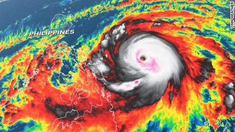 Super Typhoon Surigae is seen in an infrared satellite image from late Saturday.