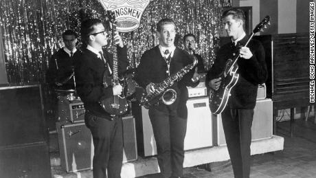 Members of the Kingsmen pose for a portrait circa 1965. Mike Mitchell is on the right