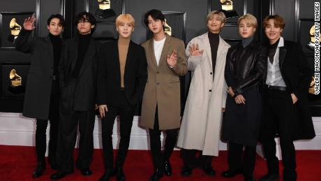 BTS arrives for the 62nd Annual Grammy Awards on January 26, 2020, in Los Angeles.