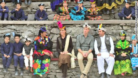 William and Catherine visit a settlement of the Kalash people in Chitral, Pakistan, on October 16, 2019.