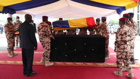Chadian soldiers carry Deby's coffin  at his funeral on Friday.