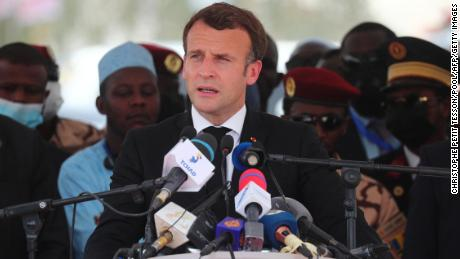 French President Emmanuel Macron delivers a speech during Deby's funeral on Friday.