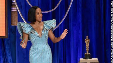 Regina King presented the Oscar for the original screenplay.  (Photo via Todd Wawrichuk / AMPAS Getty Images)