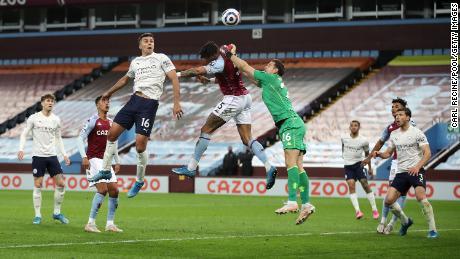 Manchester City's Rodrigo scores against Aston Villa.