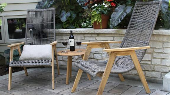 Bruges Teak Patio Chair With Cushions, Set of 2