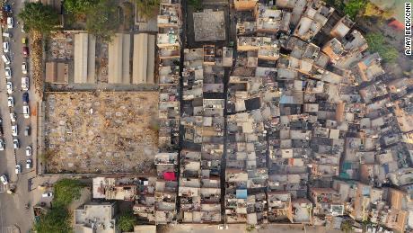 An aerial view of the Seemapuri crematorium on April 29.