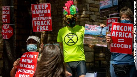 Demonstrators in Cape Town, South Africa stage a silent protest against the drilling in the Kavango Basin, on March 11.