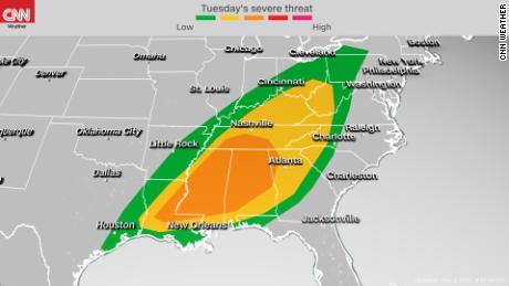 Storm Prediction Center's severe weather outlook Monday into Monday night