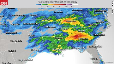 Forecast rainfall through Wednesday