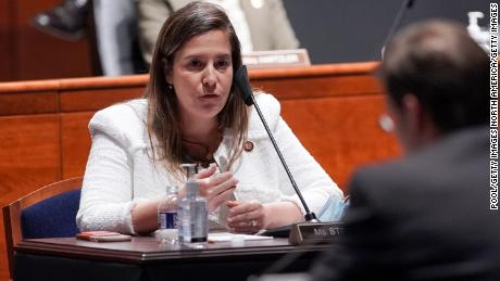 Rep. Elise Stefanik, a New York Republican, questions then-Secretary of Defense Mark Esper during a hearing in July in Washington, DC.