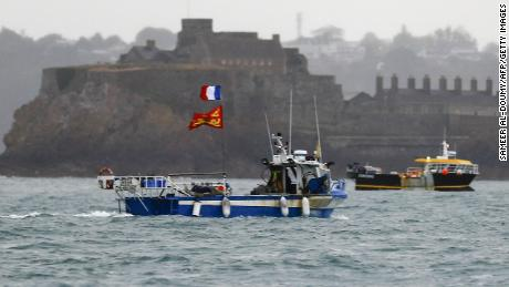 French boats protest against fishing rights in front of the port of Saint-Hélier on Thursday, May 6.
