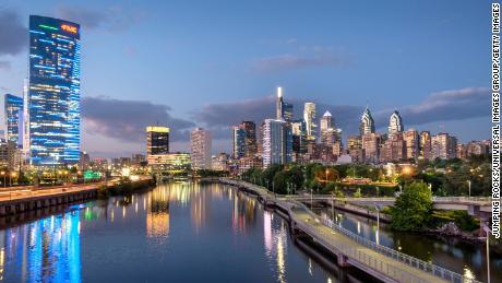 Philadelphia's skyline on a summer night.