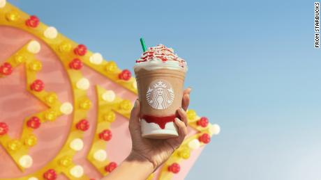 The new Strawberry Funnel Cake Frappuccino from Starbucks.