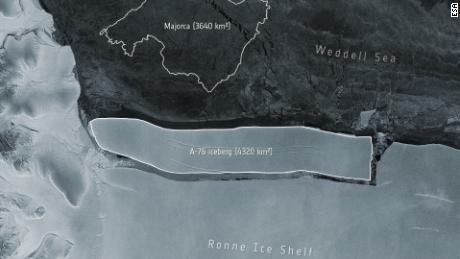 An enormous iceberg has calved from the western side of the Ronne Ice Shelf, lying in the Weddell Sea, in Antarctica.