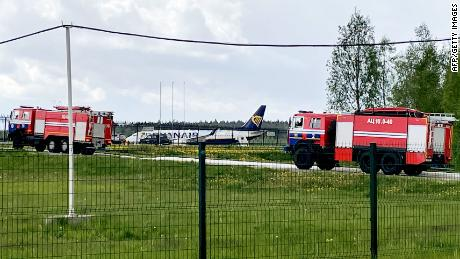 The Ryanair plane parked at Minsk International Airport on May 23.