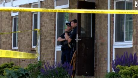 Officers on scene of a shooting in Fort Wayne, Indiana, on Sunday.
