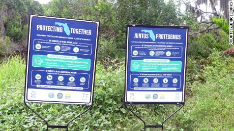 The Florida Department of Environmental Protection and the Florida Fish and Wildlife Conservation Commission have installed signs in Terra Ceia Preserve State Park warning of the dangers of blue green algae.