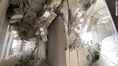 PCRF's office after an Israeli airstrike hit nearby.