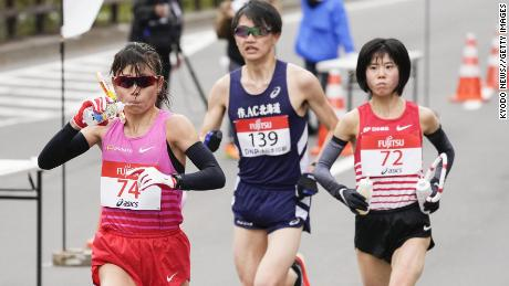Runners compete in a half-marathon in Sapporo on May 5 -- a test event ahead of this year's Olympics.