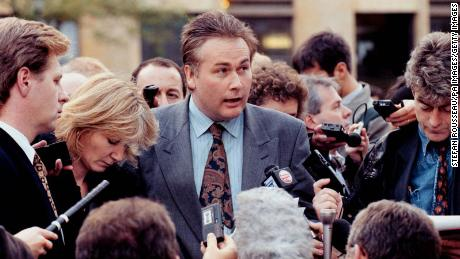 Leo Goatley, center, solicitor for Rosemary West, speaks to the media at the end of the trial in Winchester.