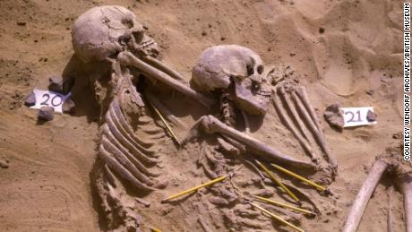 Shown are two of the ancient individuals buried at Jebel Sahaba in the Nile Valley who were found in the 1960s.