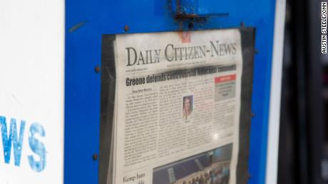 The front page of the Daily Citizen-News is seen in Dalton on Thursday.