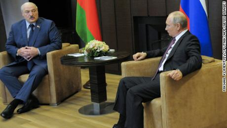 Russian President Vladimir Putin meets with his Belarusian counterpart Alexander Lukashenko on Friday 28 May in Sochi, Russia.